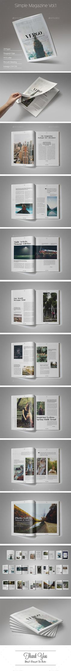 Simple Magazine Vol.1 — InDesign INDD #product #editorial • Available here → https://graphicriver.net/item/simple-magazine-vol1/15592358?ref=pxcr