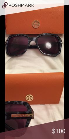 Tory Burch Green Tortoise Polarized Sunglasses A grey/ green tortoise frame with squarish lenses, logo in gold on the side. Of course comes with the classic orange case. :) Tory Burch Accessories Sunglasses