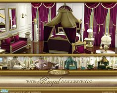 Part II - Royal Canopy Bed is 2 mesh files, bed & canopy. Bed mesh is available in 5 regal colors, rose wine, jade green, cream, teal, and pastel pink. Also included, new dining chair &...