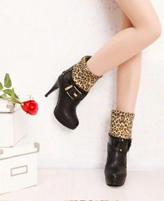 Vogue Buckle Leopard Embellishment High Heel Boots Black - $35.99 on @ClozetteCo