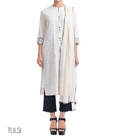 Cotton Cape Set Boat neck front open cape in 3/4 sleeve Front andback quilted Fine embroidery detailing on the sleeve Side pockets Colorful embroidered button detailing on the placket Embroidered pant anddupatta with contrast edge embroidery on all four sides    ...