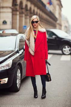 Red coat. Carolines Mode | StockholmStreetStyle