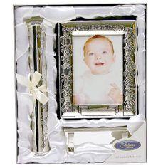 Fényképalbum és keresztlevél tartó henger állvánnyal ~ Ez az ezüstözött fotóalbum és keresztlevél tartó henger egyedi ajándék keresztelőre kisfiúnak, kislánynak.