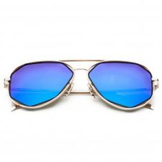 CHB Women's HD Mirrored Creative Irregular Lens Aviator Metal Frame Street Fashion Designer Polarized Sunglasses UV400 with Case-Gold(blue lens)