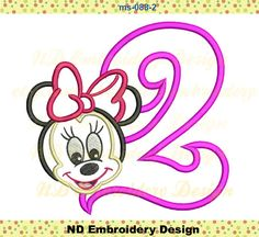 Minnie Mouse Face  nd Birthday Embroidery Applique