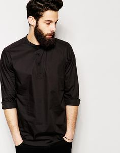 ASOS Shirt In Long Sleeve with 3/4 Length Placket