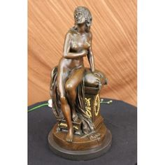 """ON SALE !!! Vintage Of The Period Art Deco Bronze & Marble Nude Lady Dancer Statue Figurine...She Is An Artist'S Muse. She Poses For A Painting, Sitting On The Edge Of A Shut Chest.She Sits On A Plump Pillow And Thin Sheet That Is Draped Over The Side Of The Chest. She Tucks Her Arm Beneath Her Exposed Breasts, Grazing Her Fingertips Along Her Skin. 100% Bronze And Handmade, This Brown Patina Sculpture Was Cast Using The """"Lost Wax Method"""" And Mounted On A Marble Base. It Features The ..."""