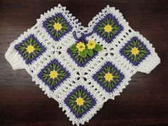 Crochet: Poncho con Cuadrados para niñas - YouTube