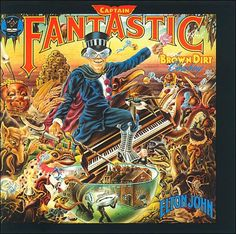 This is Elton John Captain Fantastic And The Brown Dirt Cowboy vinyl record album. The pictures are of the actual album cover. The lyric song book in the pictur Greatest Album Covers, Rock Album Covers, Classic Album Covers, Music Album Covers, Music Albums, Pop Albums, Cover Art, Lp Cover, Vinyl Cover