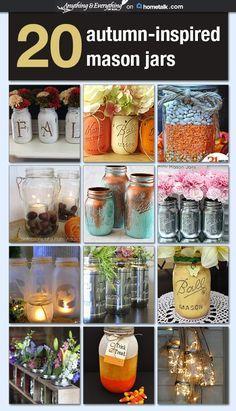 20 Autumn-Inspired Mason Jars - Anything & Everything curated for Hometalk #MasonJars