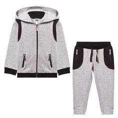 Grey Marl and Black Panelled Tracksuit