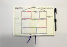 Track all of your home projects in this simple bullet journal spread! Breaking them down by room or section of the house makes it easy to get projects done.