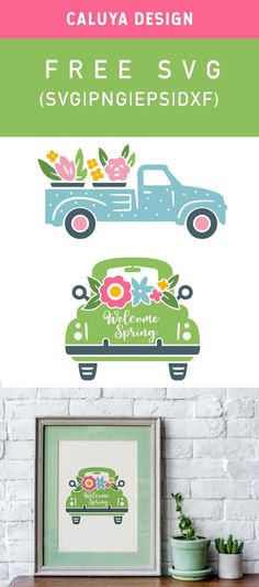 cricut vinyl projects Free Spring Truck SVG, PNG, EPS & DXF by Caluya Design. Compatible with Cameo Silhouette, Cricut and other major cutting machines! Perfect for your DIY proje Vinyl Projects, Diy Craft Projects, Planner Stickers, Free Printable Clip Art, Cricut Svg Files Free, Cricut Vinyl, Vinyl Decals, How To Make Planner, Vintage Tea Parties