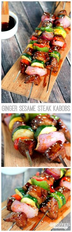 With a simple homemade ginger marinade, you'll love these tender mouth-watering Ginger Sesame Steak Kabobs with fresh grilled vegetables