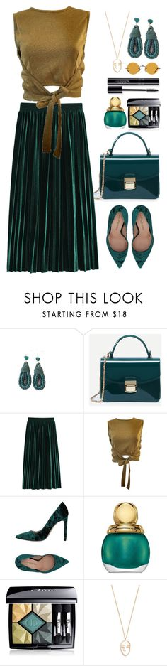 """""""Emerald and Gold"""" by gicreazioni ❤ liked on Polyvore featuring Moschino, Marco Barbabella, Christian Dior, Amber Sceats and Hakusan"""