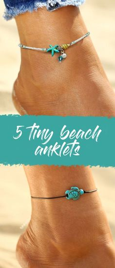 5 tiny beach anklets on Passport Ocean - A must have for summer 2018, a boho turtle anklet , a boho starfish anklet, summer vibes