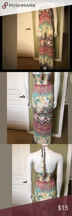 "MAKE AN OFFER‼️American Rag Halter Maxi Size M American Rag Cie Tie Dye Strapless Maxi Dress Festival Boho  Hippie Sz Med Bust: 30"" (lots of stretch, and grip material to keep bodice up) American Rag Dresses Maxi"