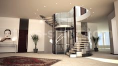 massive helical stairs for residential building, floating design, open plan staircase with marble treads and stainless steel stringer www.stairs-siller.com