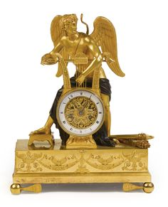 An Empire ormolu and patinated bronze mantel clock<br><p>circa 1810, the dial signed <em>Ravrio Bronzier</em> and <em>Mesnil Hr.</em></p> | Lot | Sotheby's