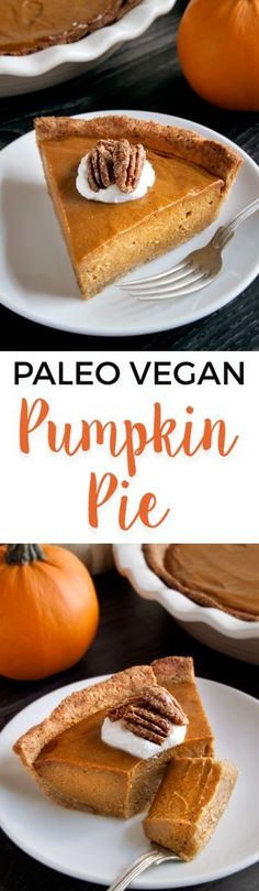 This paleo vegan pumpkin pie has a richer and creamier pumpkin filling than your traditional pumpkin pie! A delicious grain-free, gluten-free and dairy-free dessert for Thanksgiving.