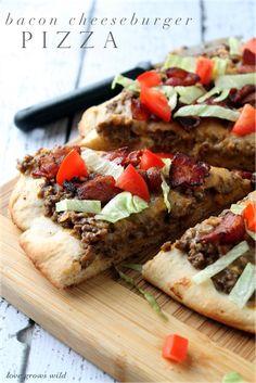 Bacon Cheeseburger Pizza - all the delicious flavor of a burger on a pizza! #velveetarecipe