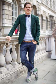 ジャケットとジーンズメンズ着こなしGreen Blazer and Bow Tie, men's fashion, man's fashion. boy, girl, man, gentleman, fashion for men, men's wear