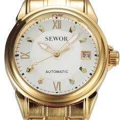 2016 SEWOR Gold Automatic Watch Men Auto Date Calendar Stainless Steel Strap Clock Rome Dial Mens Mechanical Dress Wristwatches