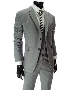 Men's Slim Fit Grey Double Button Jacket with Vest