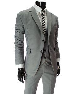 Men's Slim Fit Grey Double Button Jacket with Vest