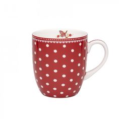 Room Seven beker large, red w. white dots | Room Seven Servies | Bellarosa Brocante
