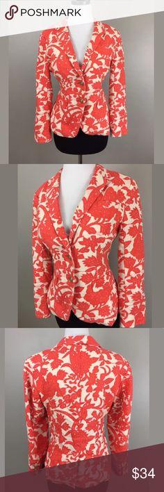 """Ann Taylor Loft Floral Damask Linen Blazer Orange Label-Ann Taylor Loft  Style-Linen Blazer  Condition- Excellent  Size- 4  Material- 100% Linen shell, 100% cotton lining  Color- Ivory & Orange   Measurements:  Bust- 39""""  Waist- 34""""  Length-23"""" LOFT Jackets & Coats Blazers"""