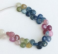 Multi Sapphire Beads Multi Sapphire Faceted Heart by gemsforjewels