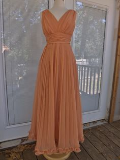 Vintage 1960S PLEATED CHIFFON  Formal Evening Gown Caped  Size6. $129.99, via Etsy.