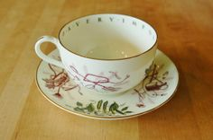 Gardening Cup and Saucer, Royal Worcester English Bone China Large Tea Cup Saucer, To a Very Important Person VIP Series, Jumbo Gardener Cup - SOLD!