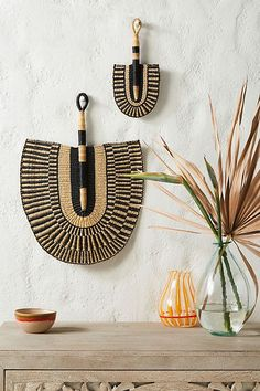 Hallway Console Table Decor Amiri Wall Hanging by All Across Africa in Assorted Decor at Anthropologie.Hallway Console Table Decor Amiri Wall Hanging by All Across Africa in Assorted Decor at Anthropologie African Interior Design, African Home Decor, Interior Exterior, Hanging Baskets, Baskets On Wall, New Wall, African Art, African Style, Printable Wall Art