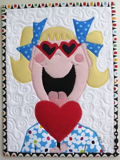 Sooo cute, what a happy girl. Happy Valentine's Day Flickr Friends by mamacjt, via Flickr