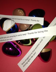 Great idea for the scavenger hunt. Use your leftover eggs and fill them with inspirational messages.