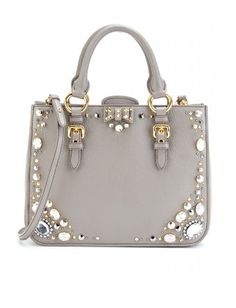 Miu Miu - EMBELLISHED LEATHER TOTE -