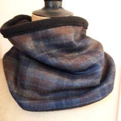 Snood col écharpe homme infiniti, en laine carreaux et intérieur polaire  noire 20099e5448a