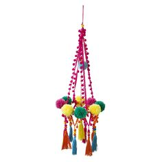 This stunning bohemian inspired chandelier centrepiece will be the talking point at any party! Features fabric pom poms, tassels and wooden bead detail. The Nitty Gritty This hanging decoration is in height. Chandelier Centerpiece, Hanging Chandelier, Fabric Pom Poms, Sweet Party, Boho Style Decor, Fiesta Decorations, Camping Decorations, Decoration Christmas, Décor Boho