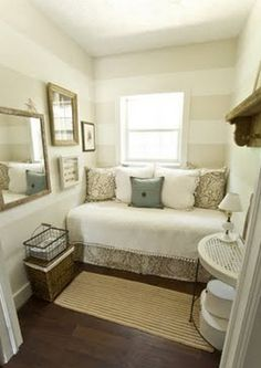 guest room. even an extra small space can be inviting and relaxing... guest don't need sft. to feel like their are on a retreat ... all the time. ;)