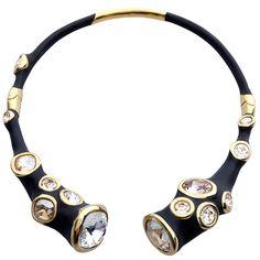 Gorgeous Swarovski Crystal Black and Gold Collar Necklace by Gregg Lynn for Atelier Swarovski