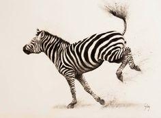 Kick up your heels, zebra drawing by Catherine Ingleby art