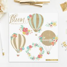 Hot Air Balloons Flowers ClipArt Intant Download Digital Pink Blue Yellow Mint Green Vintage Shabby Chick Kraft Paper Baby Invitation DIY