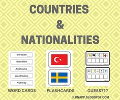 English Freak: COUNTRIES & NATIONALITIES: FLASHCARDS, WORD CARDS, CODES (PRINTABLE)
