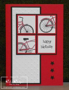 handmade birthday card ... 4 square bike .. red cardstock base with white panels and black ink and accents ... like this crisp look ... luv the graphic look of the four square panel ...