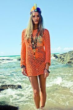 Orange summer knit. Bohemian. Not big on the headpiece but LOVE the orange cover up!!