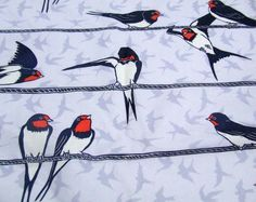 Swallow design cotton fabric