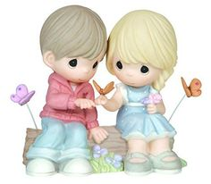 Seated Couple on Log with Butterflies Figurine