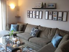 One large sectional sofa that handles all seating can make a small room feel bigger than it would with lots of chairs.